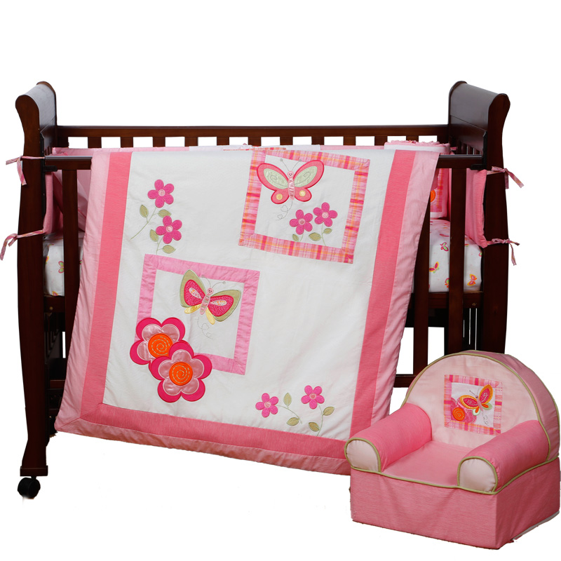 4PCS Embroidery pink Baby Cot Bedding Sets Children Crib Bedding Set ,include(bumper+duvet+sheet+pillow) pink french toile fitted crib sheet for baby and toddler bedding sets by sweet jojo designs toile print