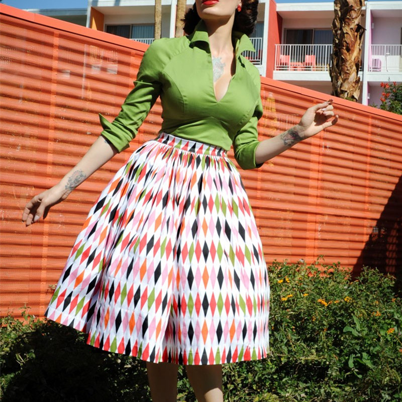 a27450153 35 women vintage 50s inspired Harlequin Print swing midi jenny skirt plus  size 4xl rockabilly pinup saia skirts faldas-in Skirts from Women's  Clothing on ...