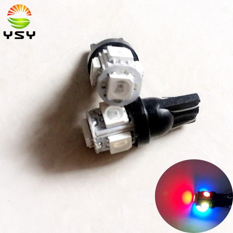 2PCS T10 194 168 W5W 5050 Map Light 5SMD RGB Car Reading Wedge Light Lamp Flash/Strobe Bulb