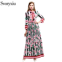 2017 Early Autumn Runway Designer Pleated Long Dress Women High Quality Stripe Flower Floral Printed 3xl Plus Size Dress