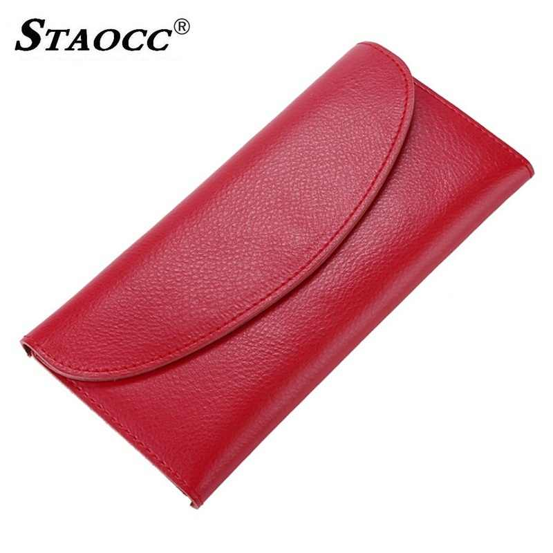 Slim Wallet Women Genuine Leather Long Hasp Thin Wallet Purse Simple Money Bag Cards Holder Purse Female Clutch Wallets Cowhide