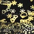 BlueZoo 2000 unidades/pacote Metal Ouro Adesivos Nail Art Decalques Metálico Adesivos Moda Acrílico Nail Art Decoração Frete Grátis