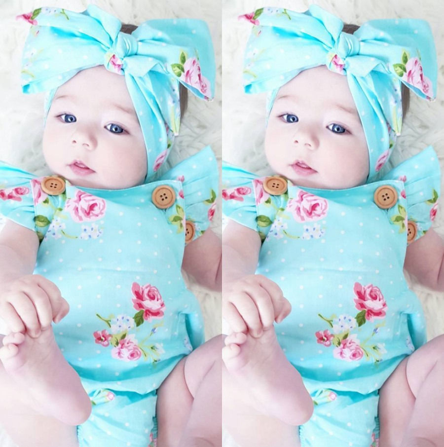Cute-Baby-Girls-Floral-Cotton-Fly-Sleeve-Romper-One-piece-Sunsuit-Headband-Bule-Clothes-Set-2