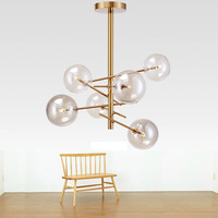 loft Nordic Iron Ceiling light living room creative clear glass Vintage luminaire Ceiling lamp Branching Bubble lights G4 LED