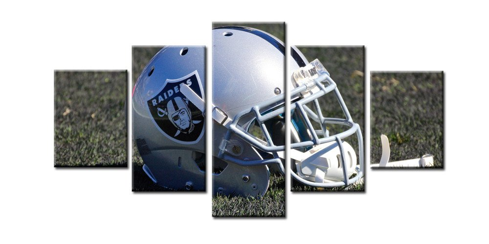 OAKLAND RAIDERS HELMET- HQ 5-PIECE ART CANVAS PRINT....