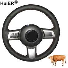 Costura à mão Cobertura de Volante de Carro Top de Couro de Vaca Para Mazda Miata 2009   2013 2014 RX 8 MX 5 2008 2013 CX 7 CX7 2007 2009