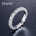 UMODE New Hot Gifts White Gold Plated 0.1ct Round Simulated Diamond Circle Wedding Eternity Rings Bands Jewelry for Women UR0357