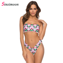bust hollow out floral print drawstring bikini set Girls swimwear women swimsuit large sizes beach swimming