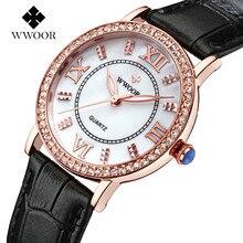 Mujeres populares Relojes de Marca de Lujo de Cuero mujer reloj de Oro Rosa Reloj de Señoras Reloj De Cuarzo Ocasional de Las Mujeres Vestido Reloj montre femme