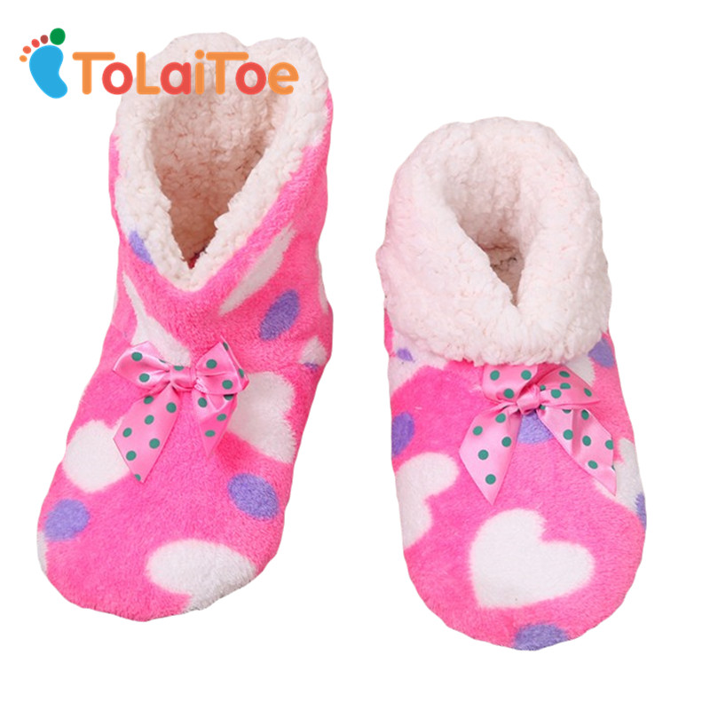ToLaiToe Lovely Women's Print Heart Indoor Cotton Boot Floor Shoes Winter Indoor Soft Non Slip Sole Household Plush Shoes france tigergrip waterproof work safety shoes woman and man soft sole rubber kitchen sea food shop non slip chef shoes cover