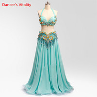 2018 New Style Belly Dance Performance Suits Senior Custom Dance Competition Clothing Bra&Tassel belt&Chiffon's Big Swing Skirt