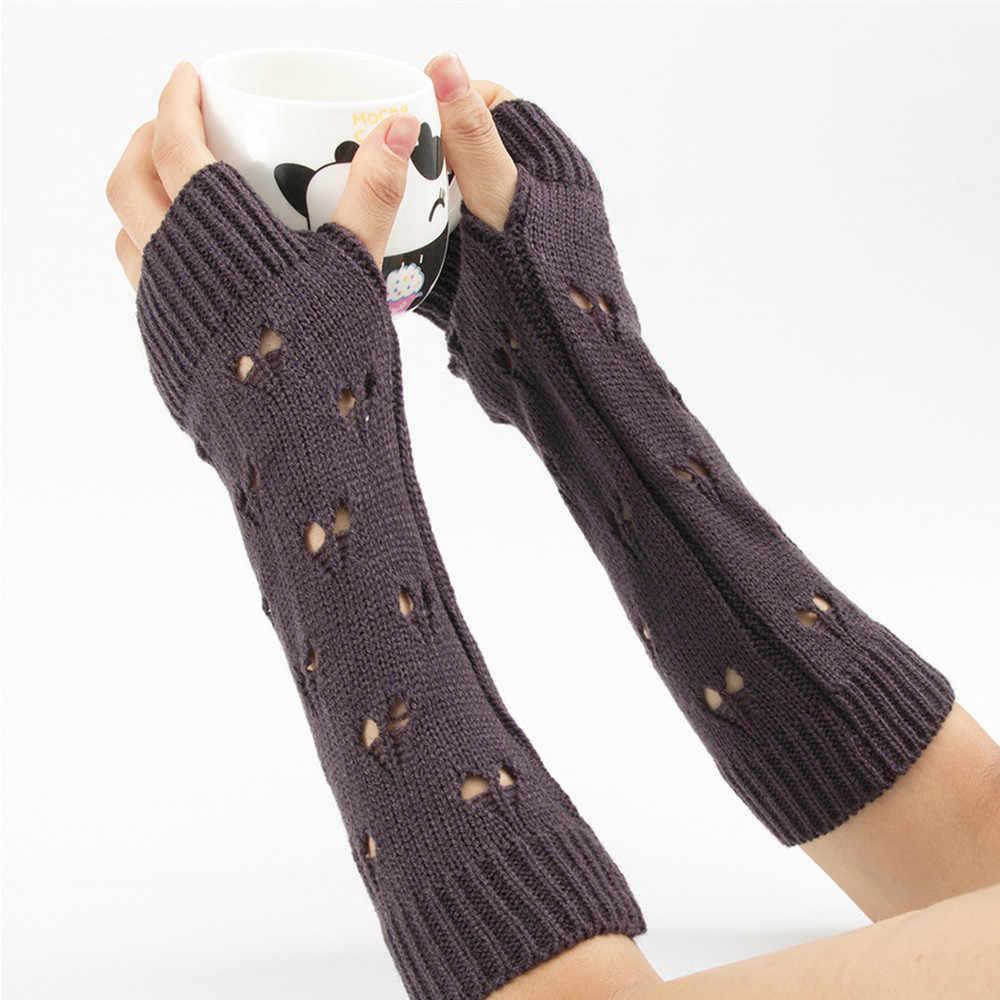 ファッション女性の冬のロング手袋指なし手袋半中空アームスリーブ Handschuhe Rekawiczki Damskie #10