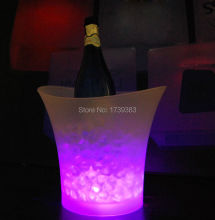 5Litre waterproof plastic LED Ice Bucket color changing,5L bars nightclubs LED light up Champagne beer bucket