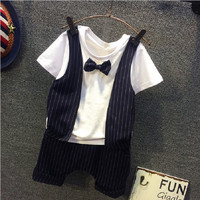 Summer Baby Formal Suits Gentlemen Handsome Clothing Sets Boys Wedding Party Suit 2pcs Bow Tie Outfits