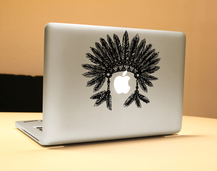 Indian feather hat Vinyl Decal Sticker for New Macbook Pro / Air 11 13 15 Inch Laptop Case Cover Sticker
