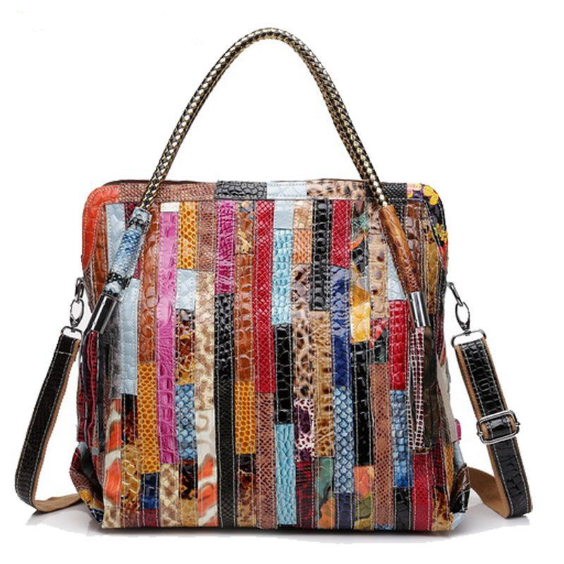 Genuine Leather Handbags Women Bag Fashion Patchwork Totes Women Messenger Bags Big Size Real Cowhide Shoulder Bags Bolsas A0341 2016 genuine leather women s patchwork shoulder bag embossed cowhide handbags women messenger bag vintage cross body bags ws41