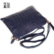 Vintage Women Messenger Bags Luxury Split Leather Cowhide Envelope Clutch Crocodile Pattern Handbags CrossBody Shoulder Bolsos