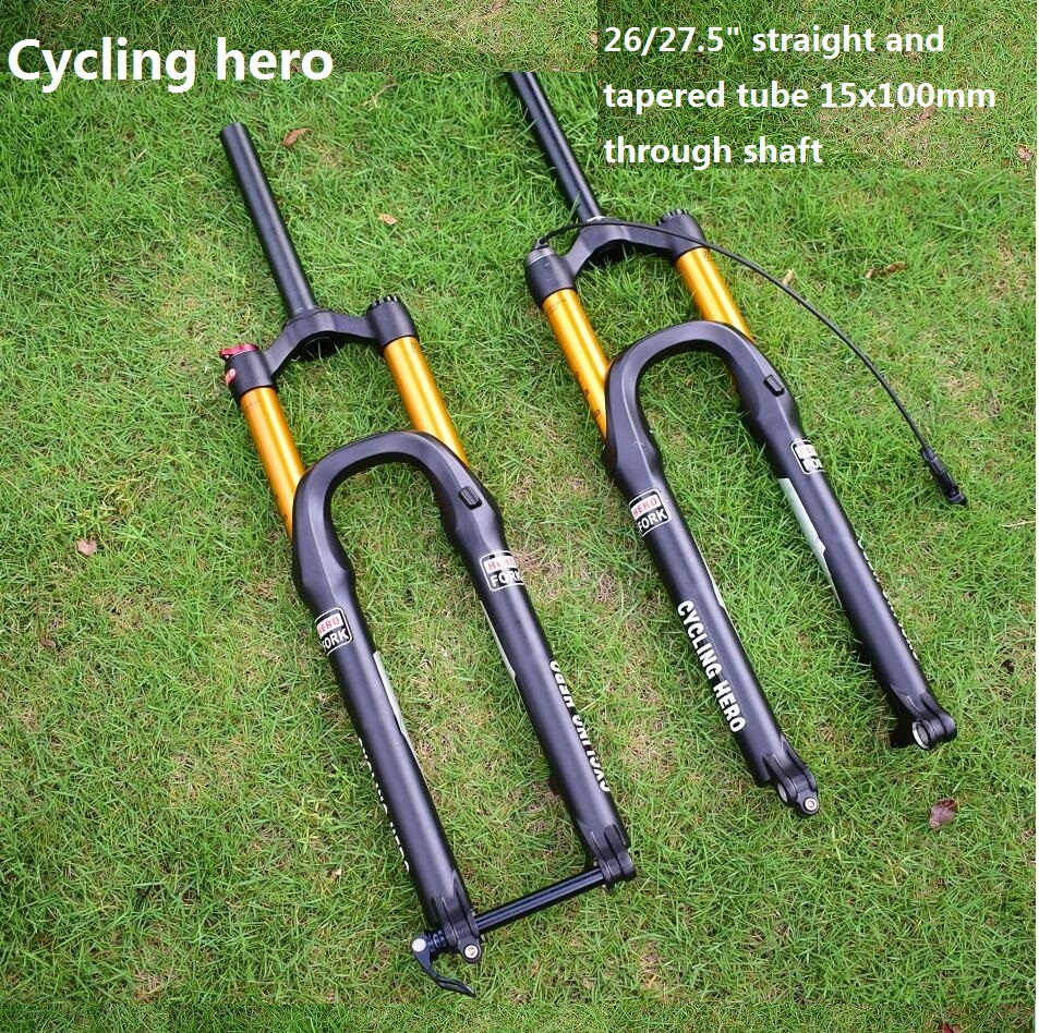 15x100mm through the shaft Mountain bike Air Suspension Fork Plug 26 and 27 5 inches Performance