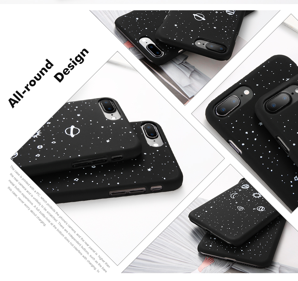 MR.YI Fashion Space Phone Case For iPhone 6 6S 7 8 Plus 5 5S SE X Cute Case Planet Moon Star Back Cover Hard PC For iPhone 7 8 6
