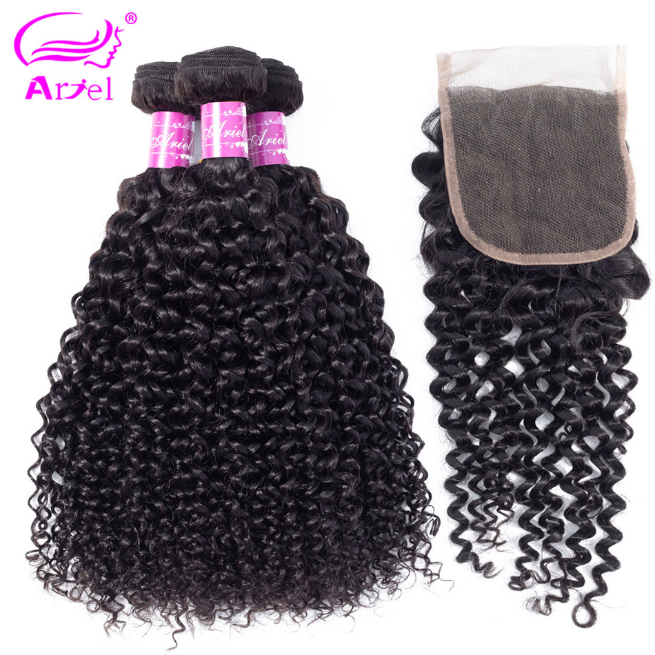 ARIEL Hair 2 4 3 Bundles With Closure Brazilian Kinky Curly Hair Weave Extensions Non Remy