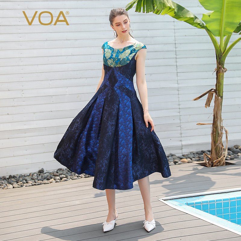 VOA Chinese Brocade Heavy Silk Party Dress Women Pleated Long Dresses Rococo Sexy Slash Neck Vintage Elegant Ladies Clothes A811