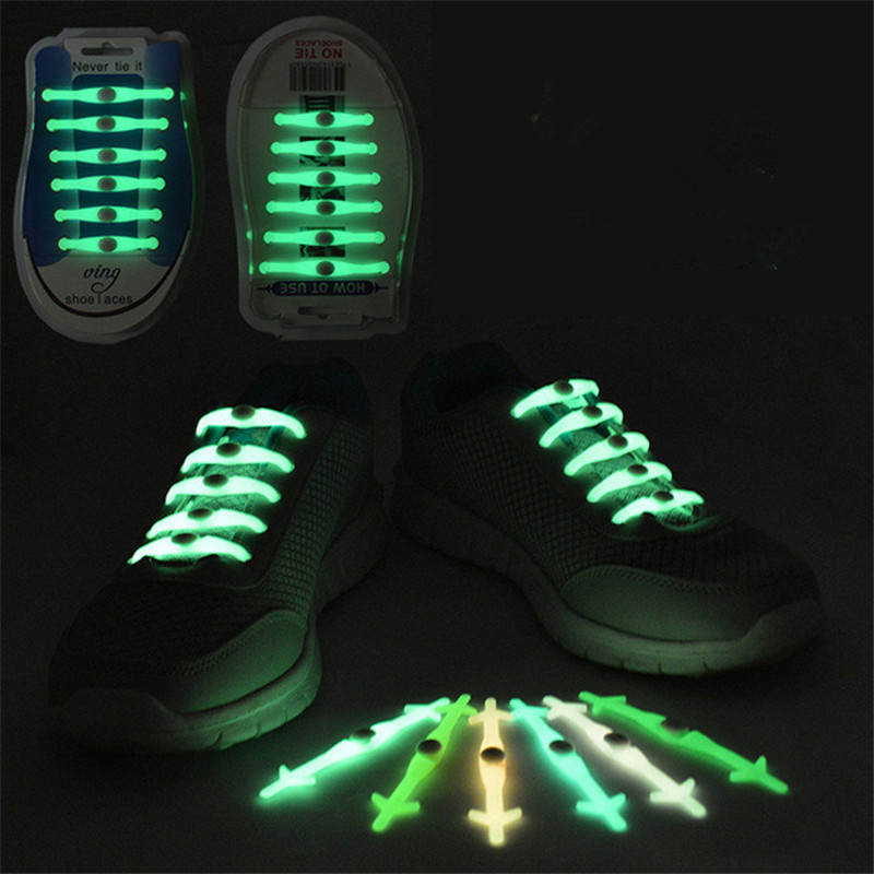Silicone Fashion <font><b>LED</b></font> Luminous Elastic <font><b>Shoelaces</b></font> Glowing Shoe Lace Shoestrings Lazy No Tie Shoeslace Rubber Sneaker Dropshipping