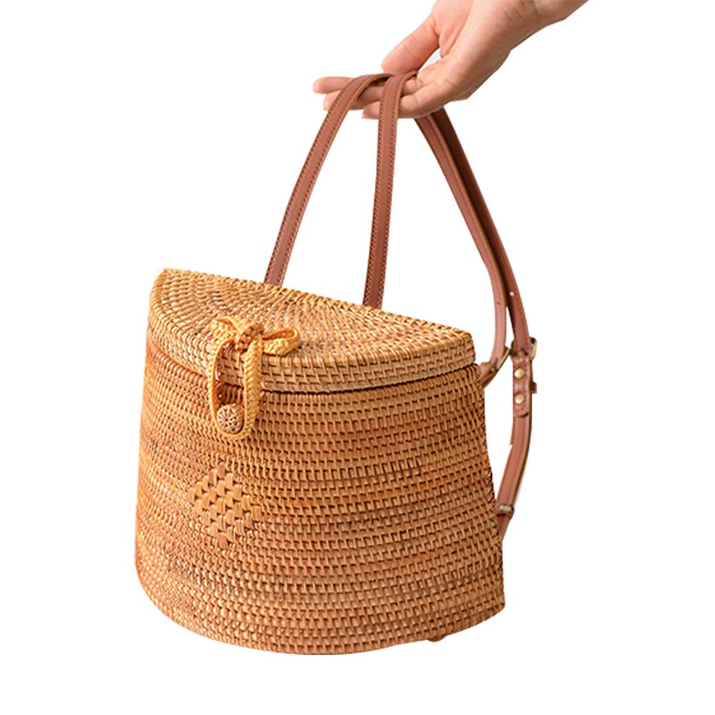 Rattan Ins Style Back Pack Basket Retro Literary Hand woven Bag Hansenne Outdoor Shoulder Bags Simple