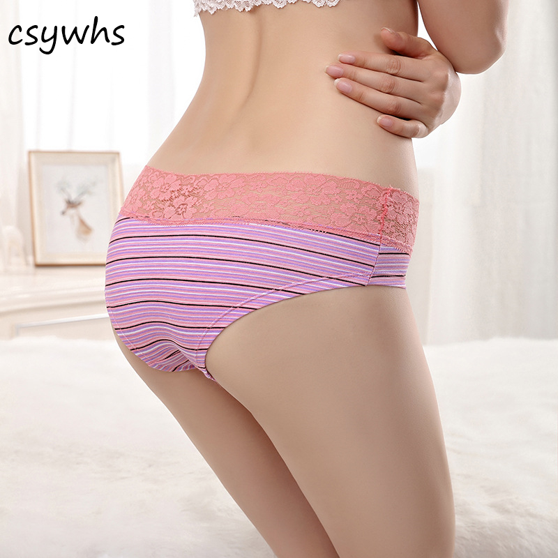 Womens Lingerie Sexy Lace   panties   Striped Cotton briefs Seamless   Panty   Underpants Briefs Underwear Intimates M-XXL