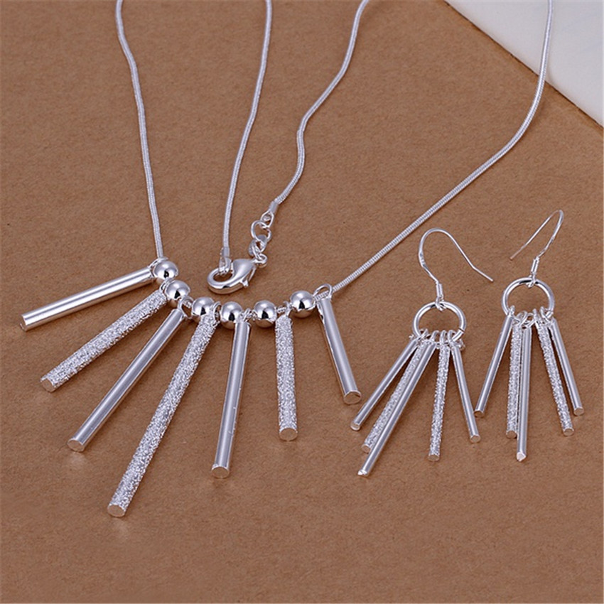 Hot silver color jewelry set fashion European style charm Seven Pillars pendant necklace five column Drop Earrings S159