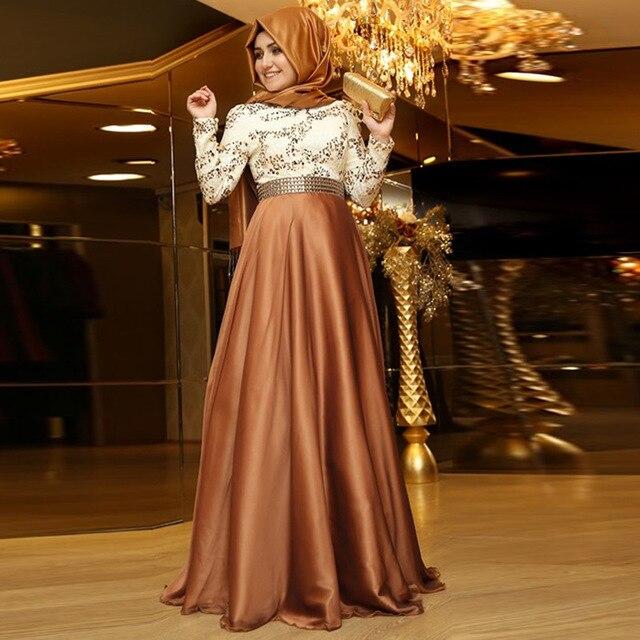 New Khaki Beaded Long Sleeve Muslim Evening Dresses 2017 Dubai Abaya ...