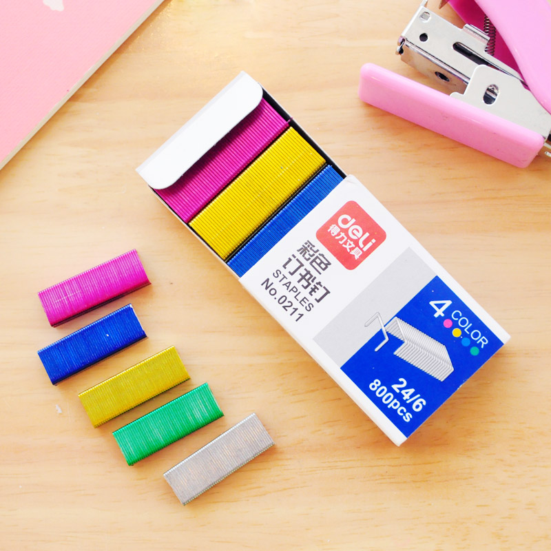 No 10 12 Colorful Stapler Book Staples Stitching Needle 1 2 cm Book Staples 800Pcs box Office Supplies in Stapler from Office School Supplies