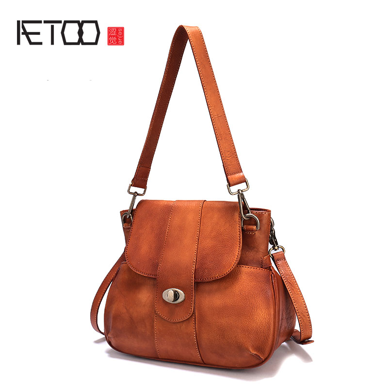 AETOO 2017 Europe and the United States the new cowhide female package tanned leather rub color lock leather saddle bag shoulder aetoo leather new handbags europe and the united states fashion simple handbag head layer of cowhide diagonal shoulder bag handb