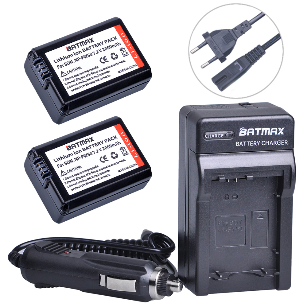 2Pcs 2000mah NP-FW50 NP FW50 Battery + Charger Kits for Alpha a7, a7 II, a7R, a7R II, a7S, a5000, a5100, a6000, a6300, a6500