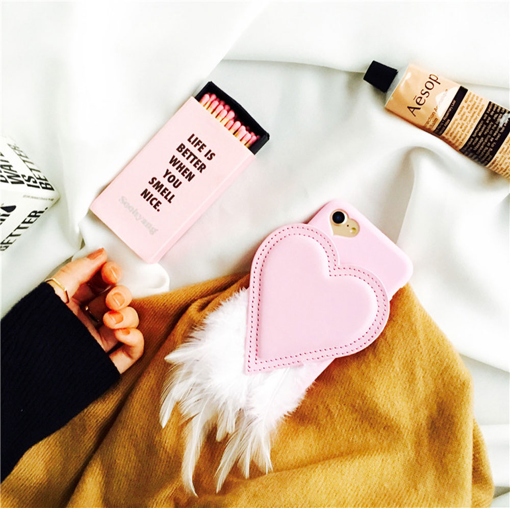 new nice cute fashion grunge pink hear shape feather soft back cover