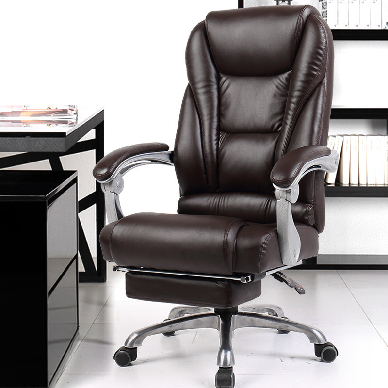 Luxurious Comfortable Office Computer Armchair Ergonomic Lying Boss Chair Household Leather Seat Aluminum Foot With Footrest