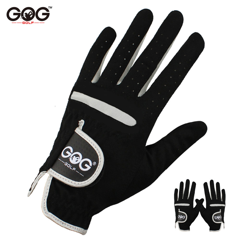 1 Pcs Men's Golf Glove Left Hand Right Hand Micro Soft Fiber Breathable Golf Gloves Men Color Black Brand GOG(China)