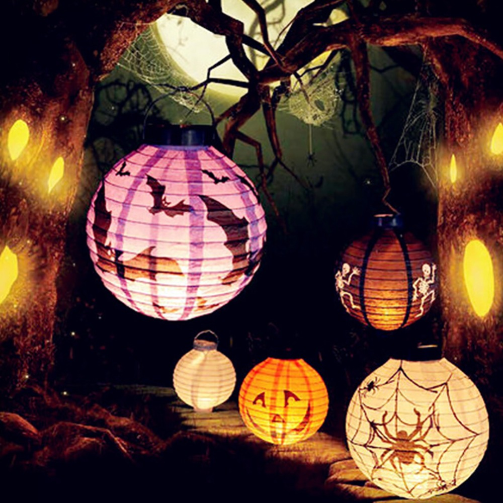 Outdoor halloween party decor - 1pcs Halloween Decoration Led Paper Pumpkin Light Hanging Lantern Lamp Halloween Props Outdoor Party Supplies