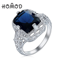 HOMOD Antique Simulated Created Blue Ring Cubic Zircon Silver Plated Wedding Finger Rings For Women Jewelry