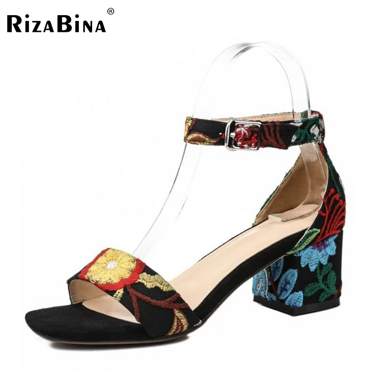 RizaBina Sexy Women Real Genuine Leather High Heel Sandals Ankle Strap Thick Heel Sandals Summer Shoes Women Sandals Size 34-39 rizabina sweety summer shoes women real leather thick high heel open toe sandals women buckle strap flower footwear size 34 39