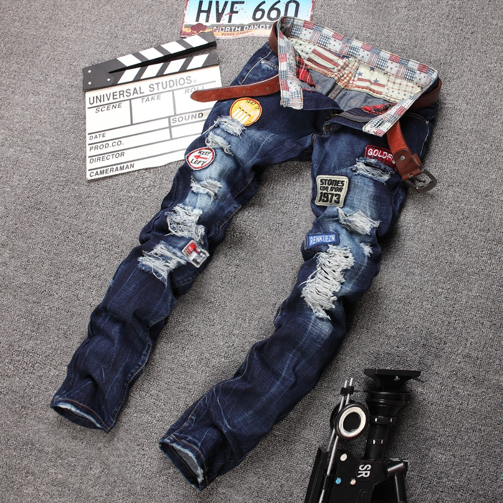 new blue patch hole patch jeans personality tide male
