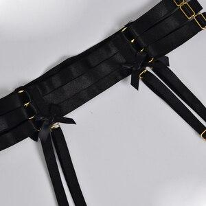Image 3 - ผู้หญิงสีดำ garter เข็มขัด Bow garter Harajuku Gothic body harness งานแต่งงาน garters เจ้าสาว bondage สายรัด garters
