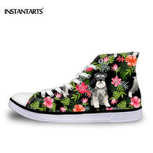 INSTANTARTS Kawaii Schnauzer High Top Canvas Shoes Women Sports Flat Sneakers Female Girl Classic Lace-up High-top Walking Shoes