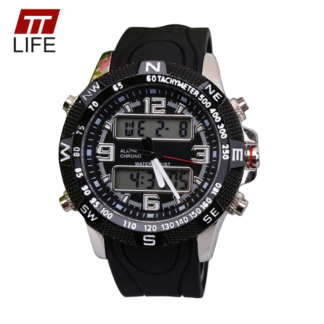 2016 New Fashion TTLIFE relogio masculino Outdoors Sport Dual Display Alarm Watch Famous Top Brand Luxury Digital-Watches Mens