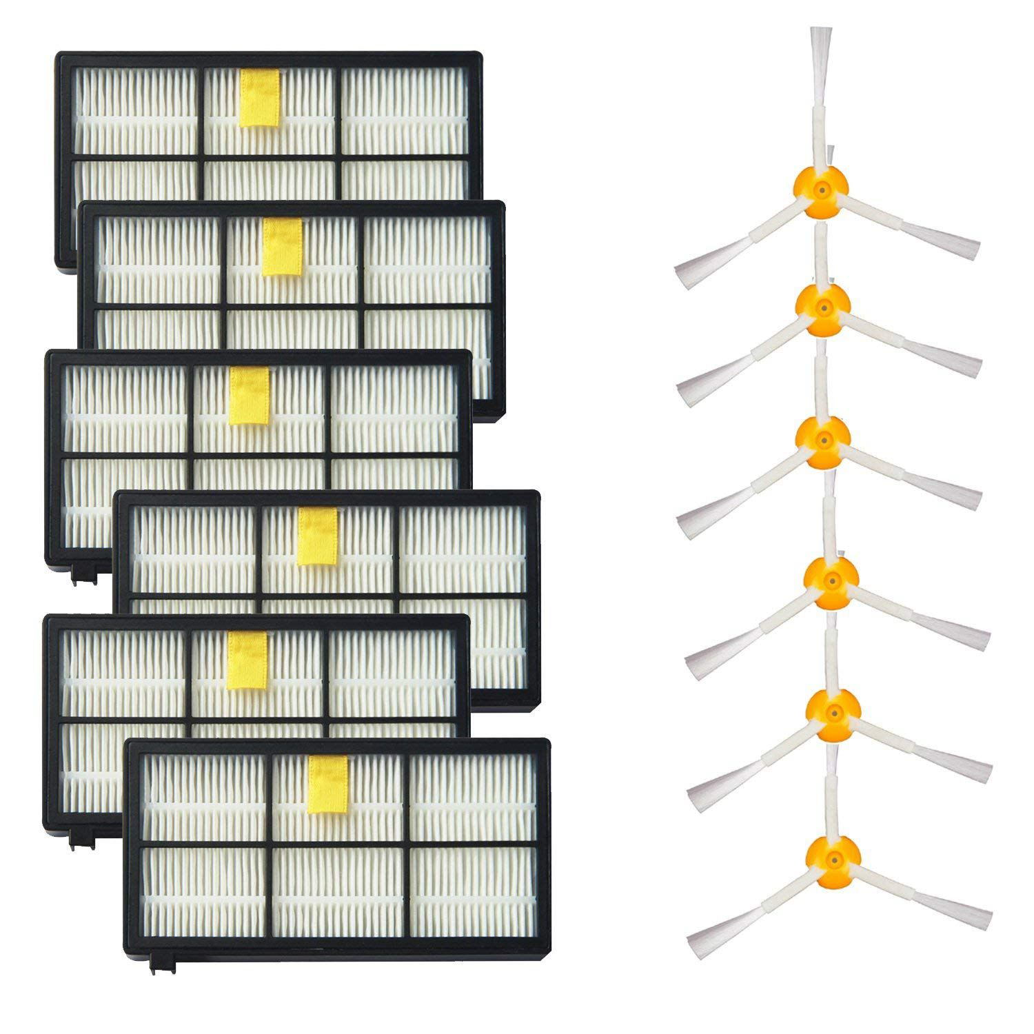 3 Side Brushes and 6 HEPA Filters Replacement For iRobot Roomba 800 900 Series 805 860 870 871 880 890 960 980 Robotic Vacuum 14pcs lot tangle free debris extractor replacement kit for irobot roomba 800 900 series 870 880 980 vacuum robots accessory pa