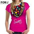 FORUDESIGNS Candy Color T-shirts Women Summer Tops Tees Prints T shirt Women Fashion Tshirts Girls Vetement Femme Big Size S-XXL