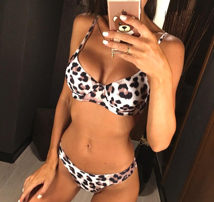 Leopard Bikini 2019 Bezaubernden Bikini Set Sexy Brazilian Bikini Mujer Tanga Leopard Bademode Frauen Push-Up Badeanzug Sexy Pad Bh