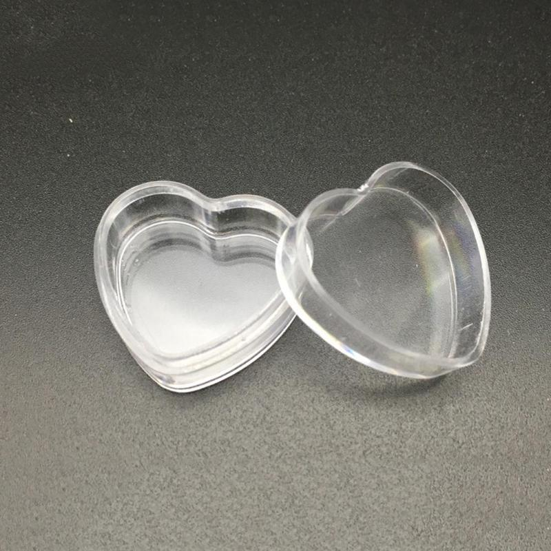10pcs Mini Plastic Heart Shape Empty Cosmetic Lip Balm Cream Pot Jar Box Container