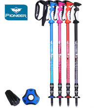 Pioneer Trekking Poles Anti Shock Walking Stick Climbing Cane Hiking Stick Telescopic Baton Nordic Walking Poles 2Pcs цена в Москве и Питере