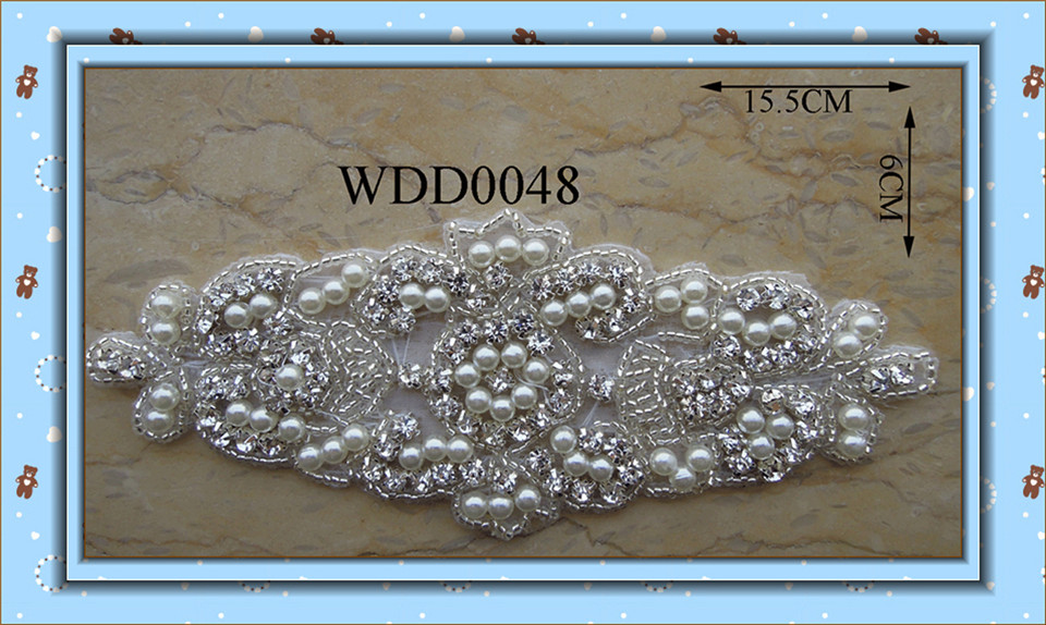 (30pcs) Pearl rhinestone applique handmade beaded sewing iron on for dress garment WDD0048