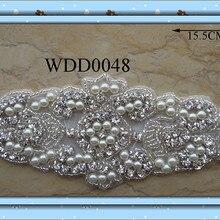 Dress Garment Pearl Rhinestone Applique Iron-On for WDD0048 Beaded-Sewing Handmade 30pcs